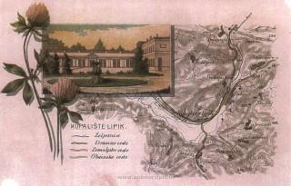 Slika stara karta putokaza kupalište Lipik
