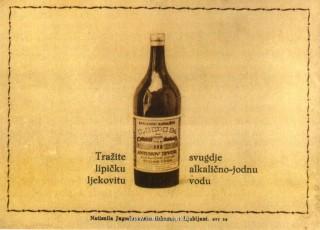 Slika stara razglednica ljekovita lipička voda u boci