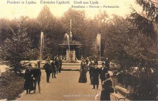Slika stara razglednica perivoj Lipik s fontanama