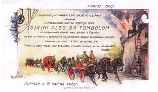 Slika stara razglednica ples s tombolom